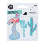 Ecussons thermocollants - Cactus, Flamant rose