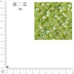 Miyuki Delicas 10/0 transparent rainbow dépoli - Vert pomme DBM0860 - 9 g