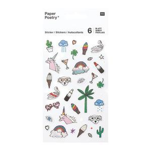 Stickers pour agenda Magical Summer Arc-en-ciel x 6 planches