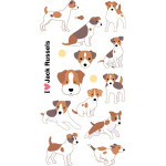 Autocollant 3D Puffies Chiens jack russel