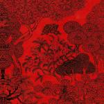 Papier Lokta Imprimé 50 x 75 cm Rouge motif Jungle