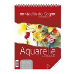 Bloc de papier aquarelle grain fin à spirale Le Rouge 325 g/m² - 11,4 x 24 cm