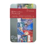Carte postal aquarelle grain torchon 10,5 x 14,8 cm x 30 Boîte métal