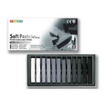 Pastels secs carrés - 12 nuances grises
