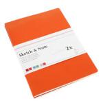 Lot de 2 carnets de croquis & notes 125 g cerise/paprika - 14,8 x 10,5 cm (A6)