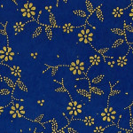Papier Lokta Imprimé 50 x 75 cm Bleu motif Sybille or