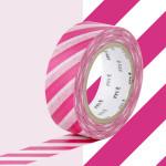 Masking Tape 1P Rayure fuchsia 15 mm x 10 m