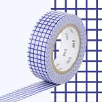 Masking Tape 1P Quadrillé bleu 15 mm x 10 m