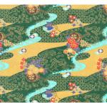 Papier Japonais 52 x 65,5 cm 100 g/m² Rivière dorée fond vert