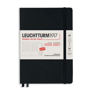 Planificateur semainier 18 mois 2021 A5 Noir