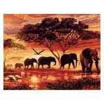 Peinture par numéros Eléphants au Coucher du soleil